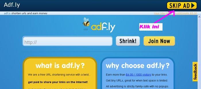 Bila anda klik link  dan terbuka link  adf.ly seperti gambar berikut